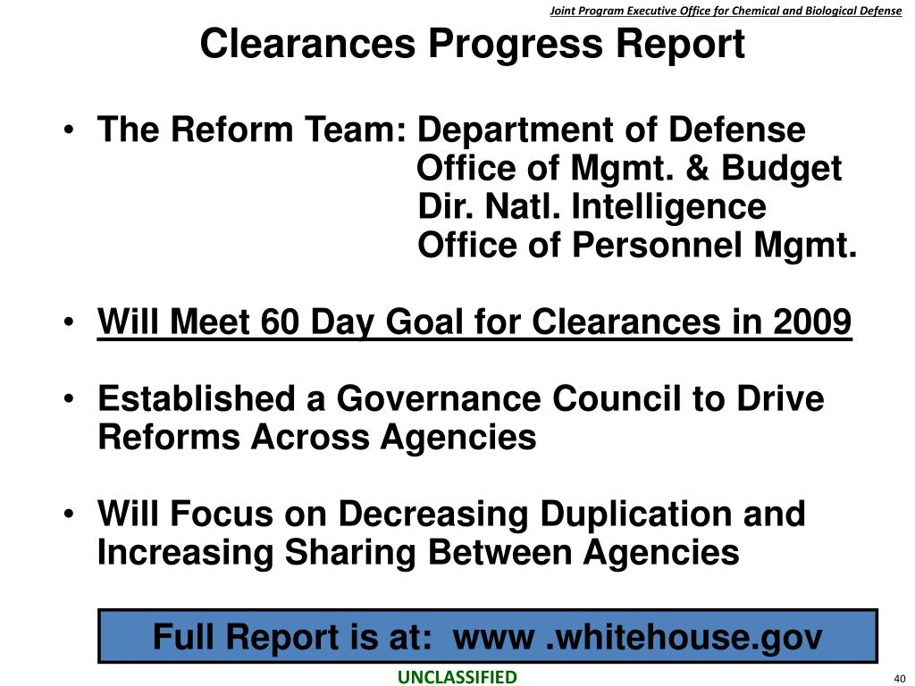 Clearances Progress Report