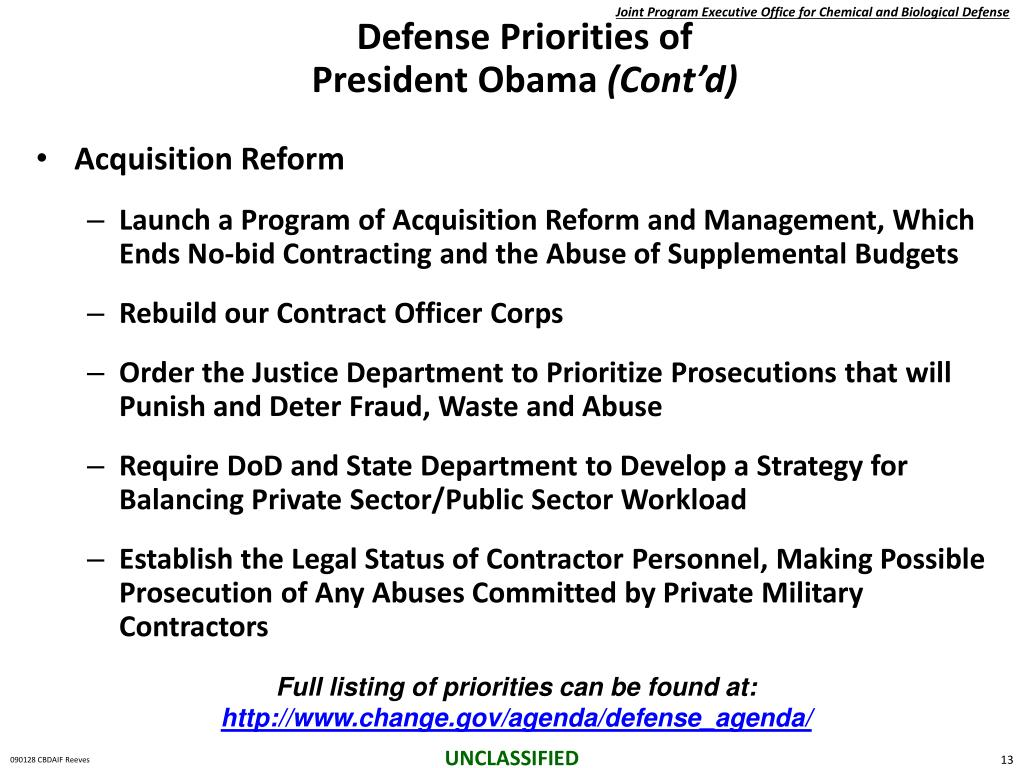 Defense Priorities of