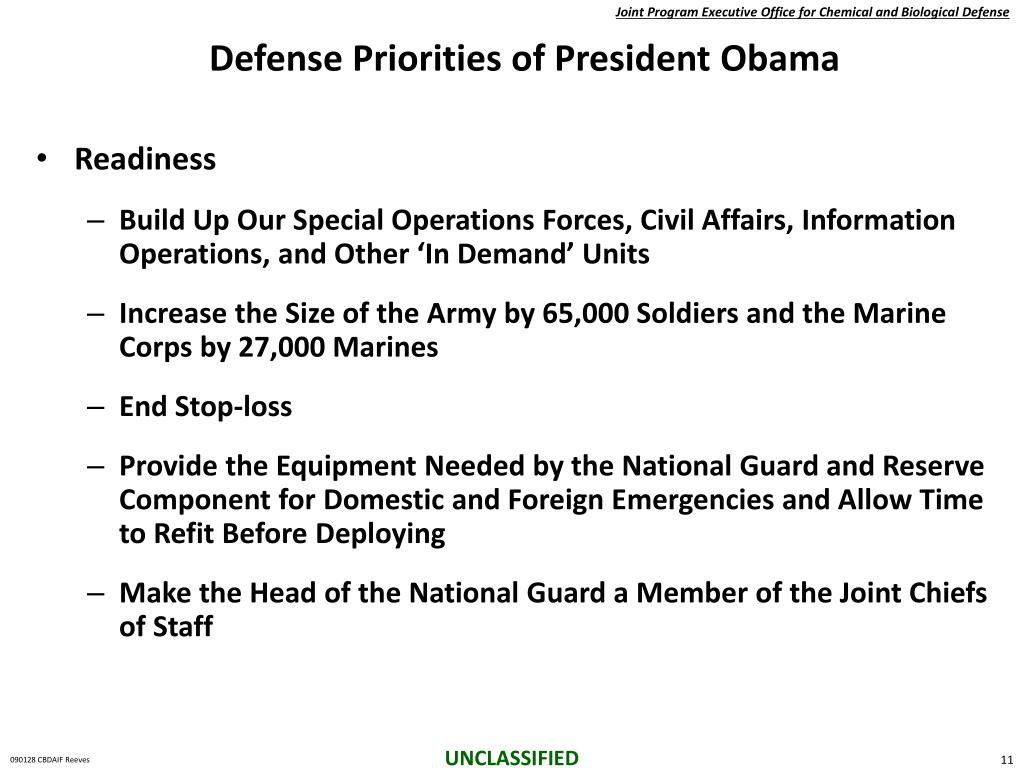 Defense Priorities of President Obama