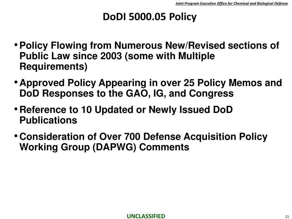 DoDI 5000.05 Policy