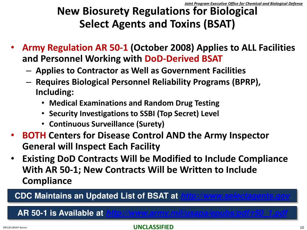 New Biosurety Regulations for Biological Select Agents and Toxins (BSAT)