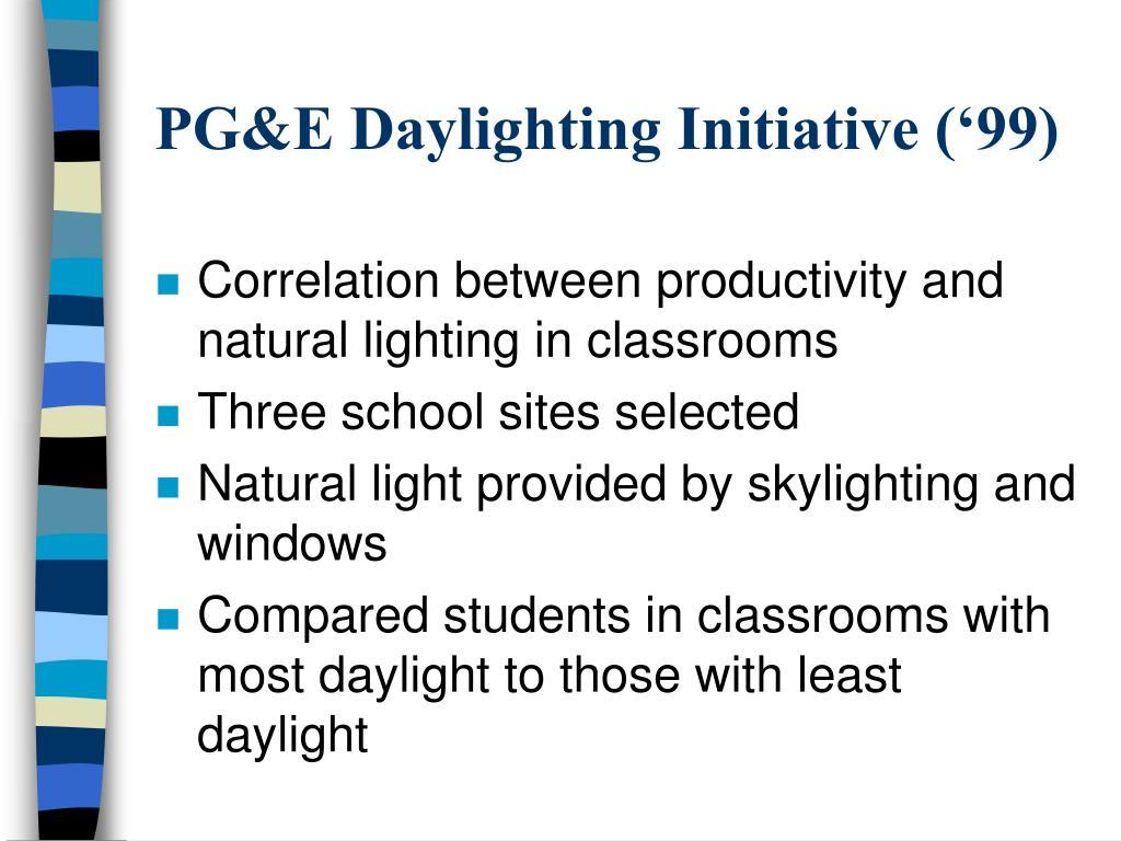 PG&E Daylighting Initiative ('99)