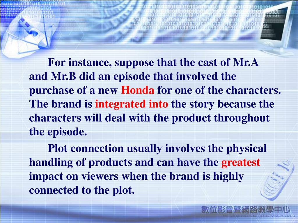 For instance, suppose that the cast of Mr.A and Mr.B did an episode that involved the purchase of a new