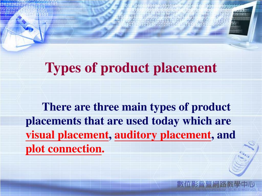 Types of product placement