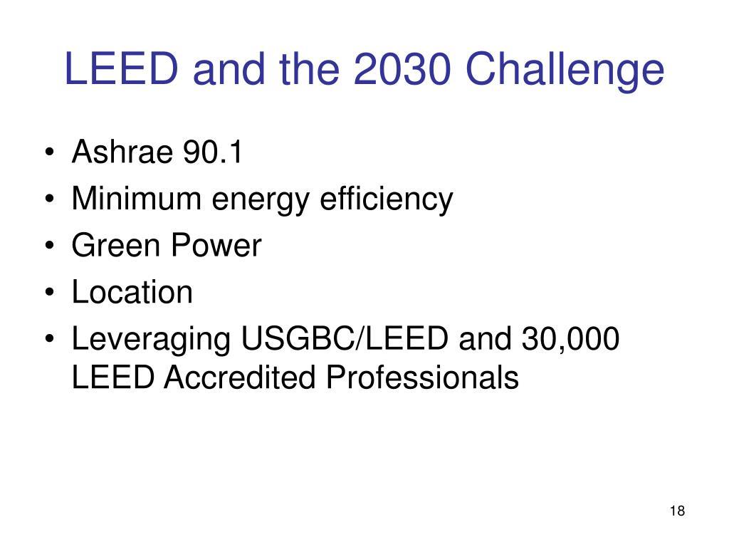 LEED and the 2030 Challenge