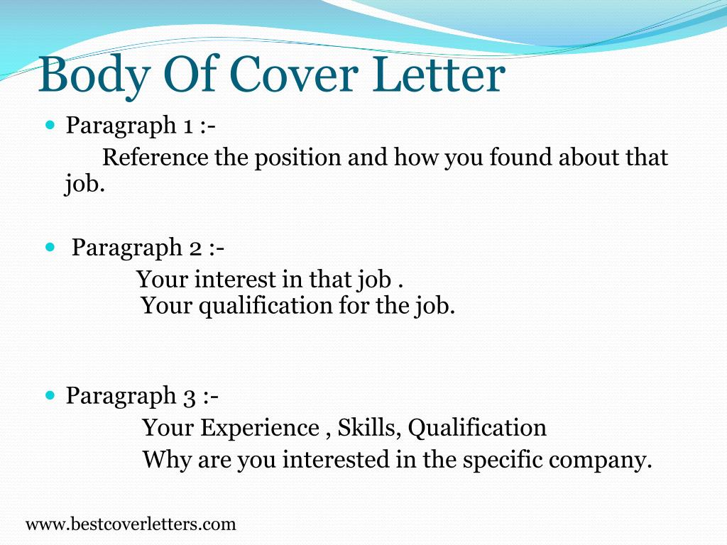 Body Of Cover Letter
