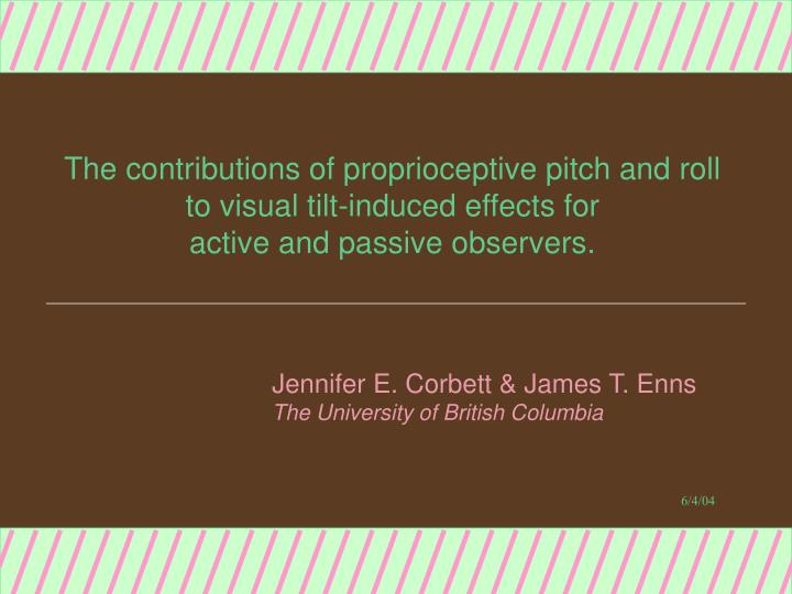 The contributions of proprioceptive pitch and roll
