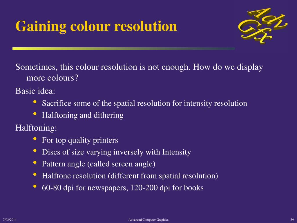 Gaining colour resolution