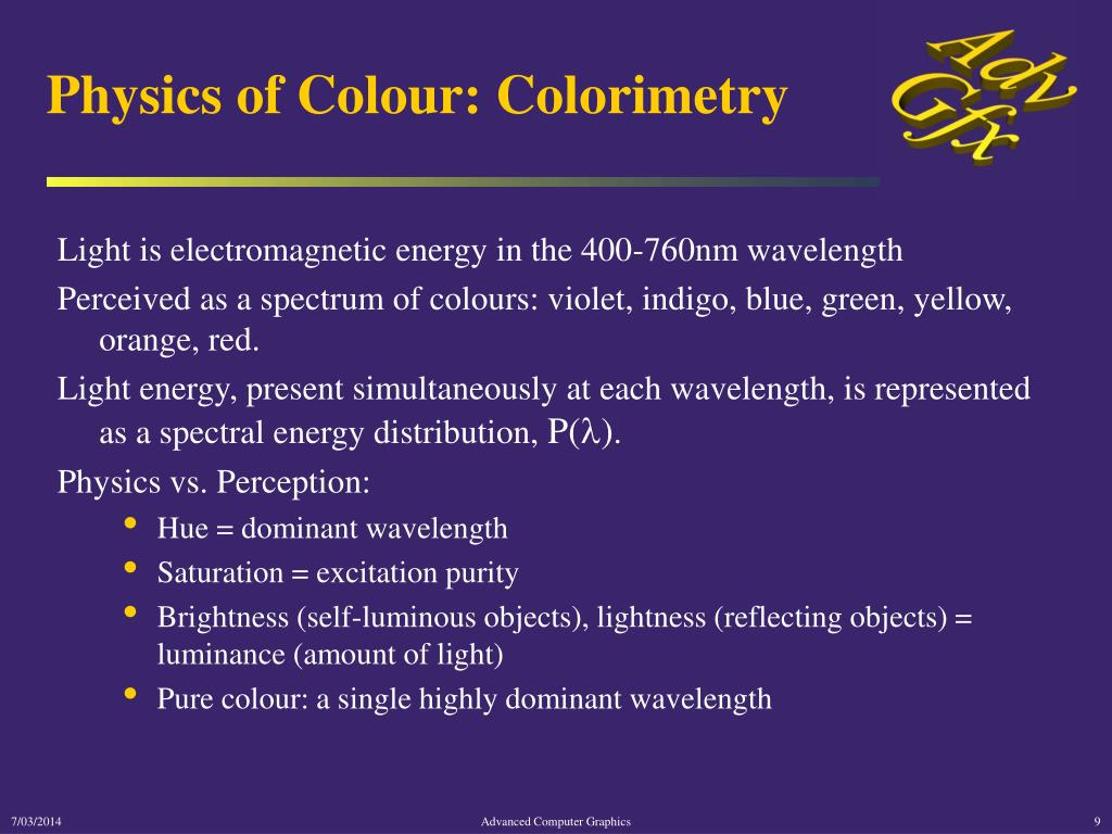 Physics of Colour: Colorimetry