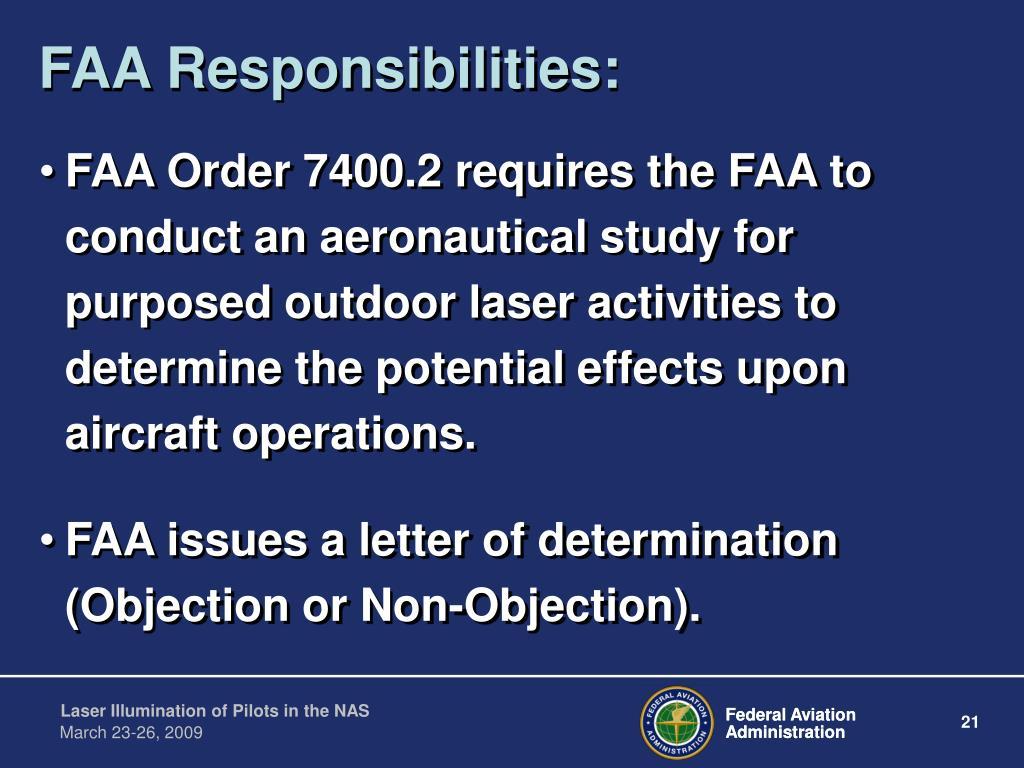 FAA Responsibilities: