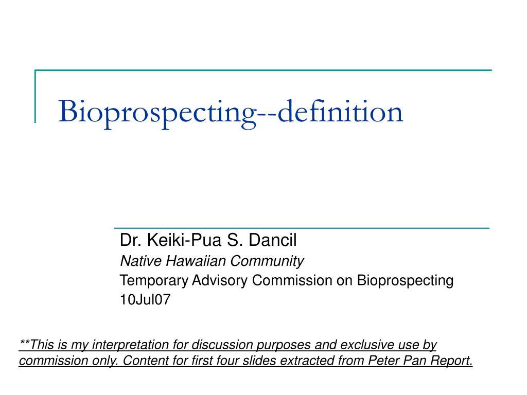 Bioprospecting--definition