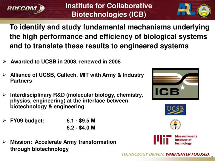 Institute for collaborative biotechnologies icb