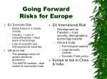going forward risks for europe