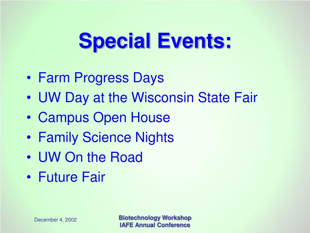 Special Events: