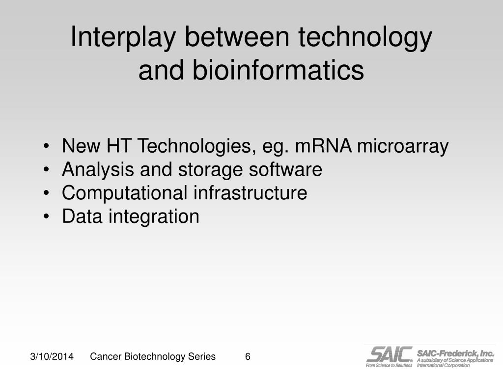 Interplay between technology and bioinformatics