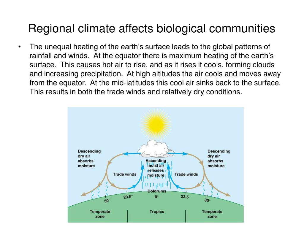 Regional climate affects biological communities