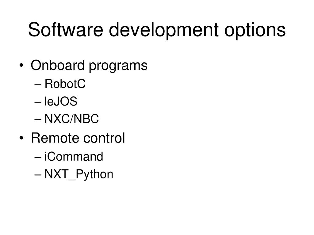 Software development options