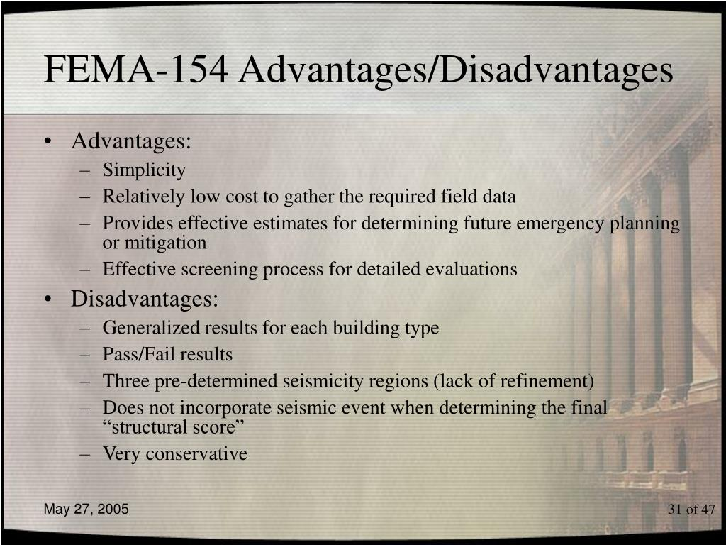 FEMA-154 Advantages/Disadvantages
