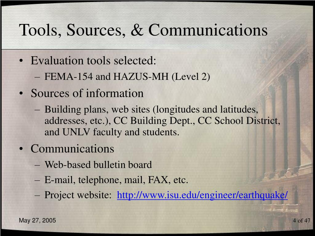 Tools, Sources, & Communications