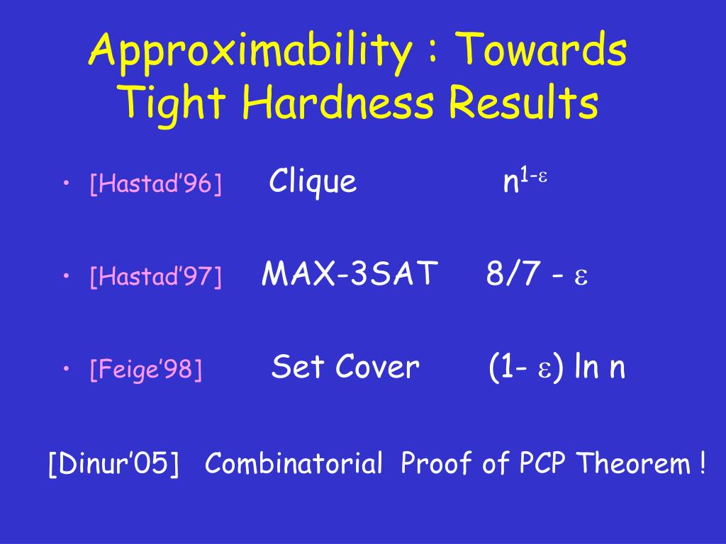 Approximability : Towards Tight Hardness Results