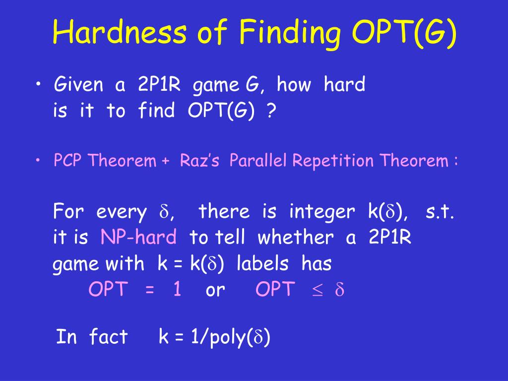 Hardness of Finding OPT(G)