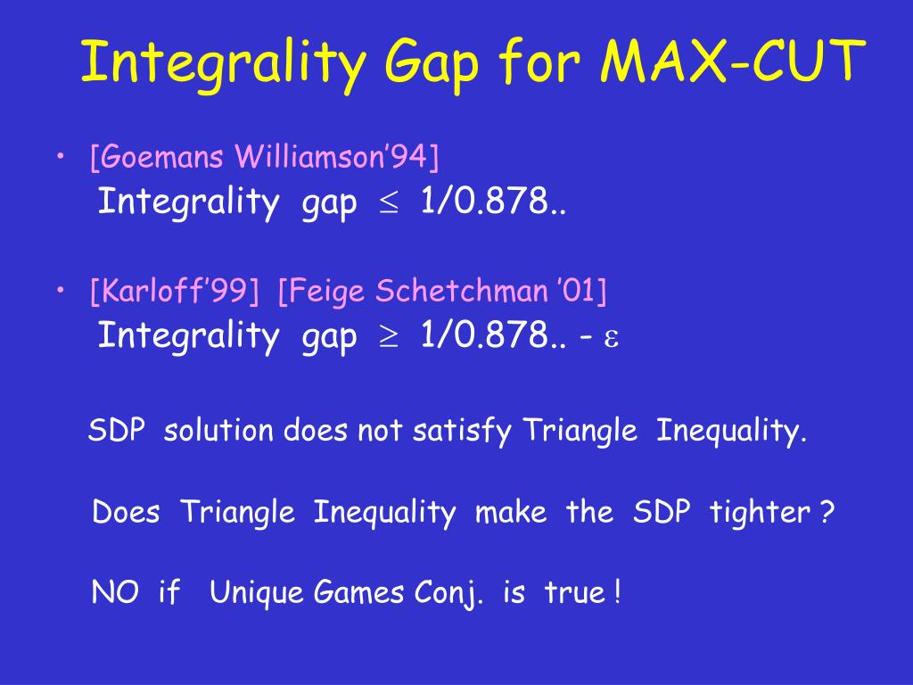 Integrality Gap for MAX-CUT