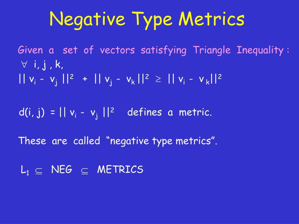 Negative Type Metrics