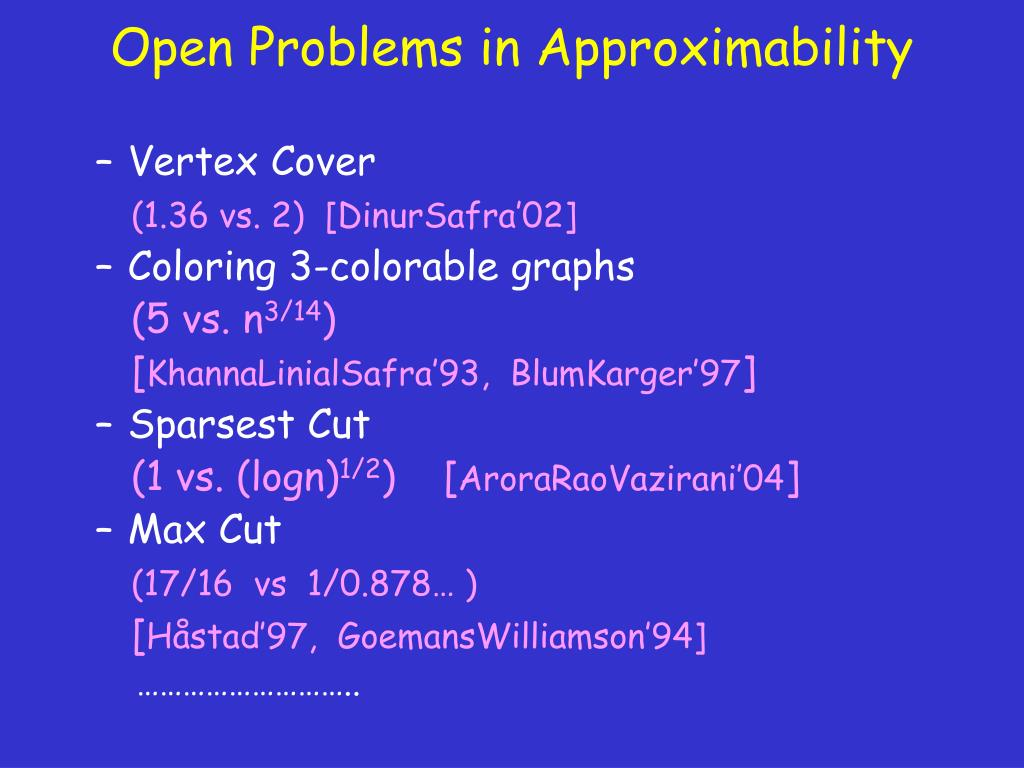 Open Problems in Approximability
