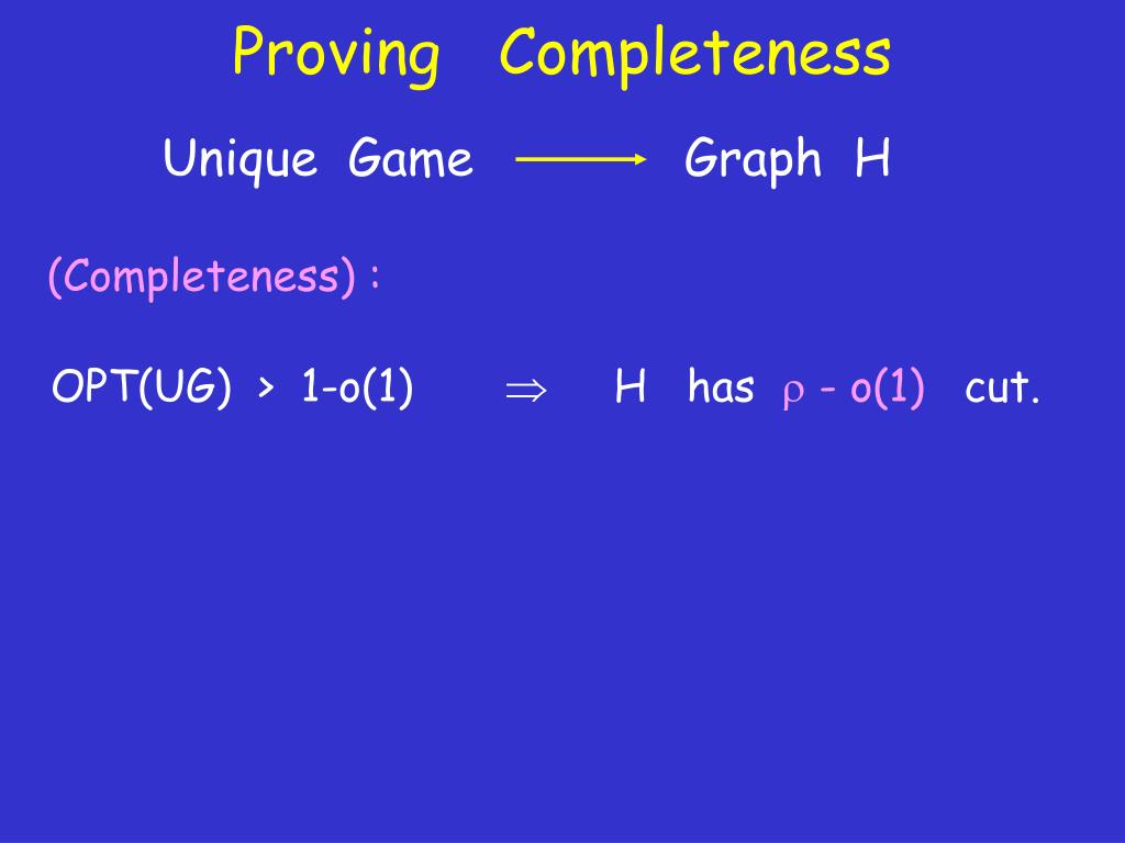 Proving   Completeness