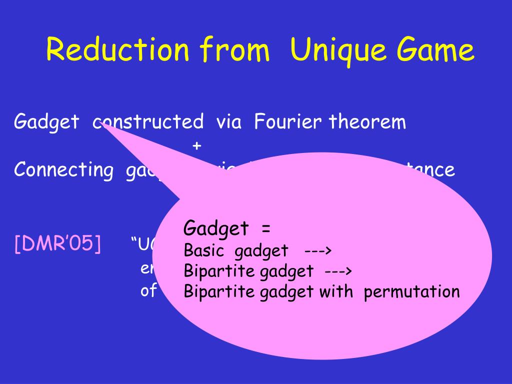 Reduction from  Unique Game