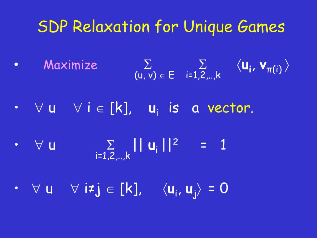 SDP Relaxation for Unique Games