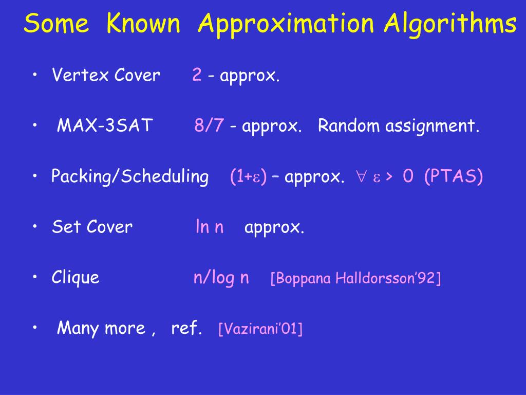 Some  Known  Approximation Algorithms