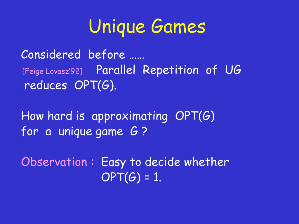 Unique Games