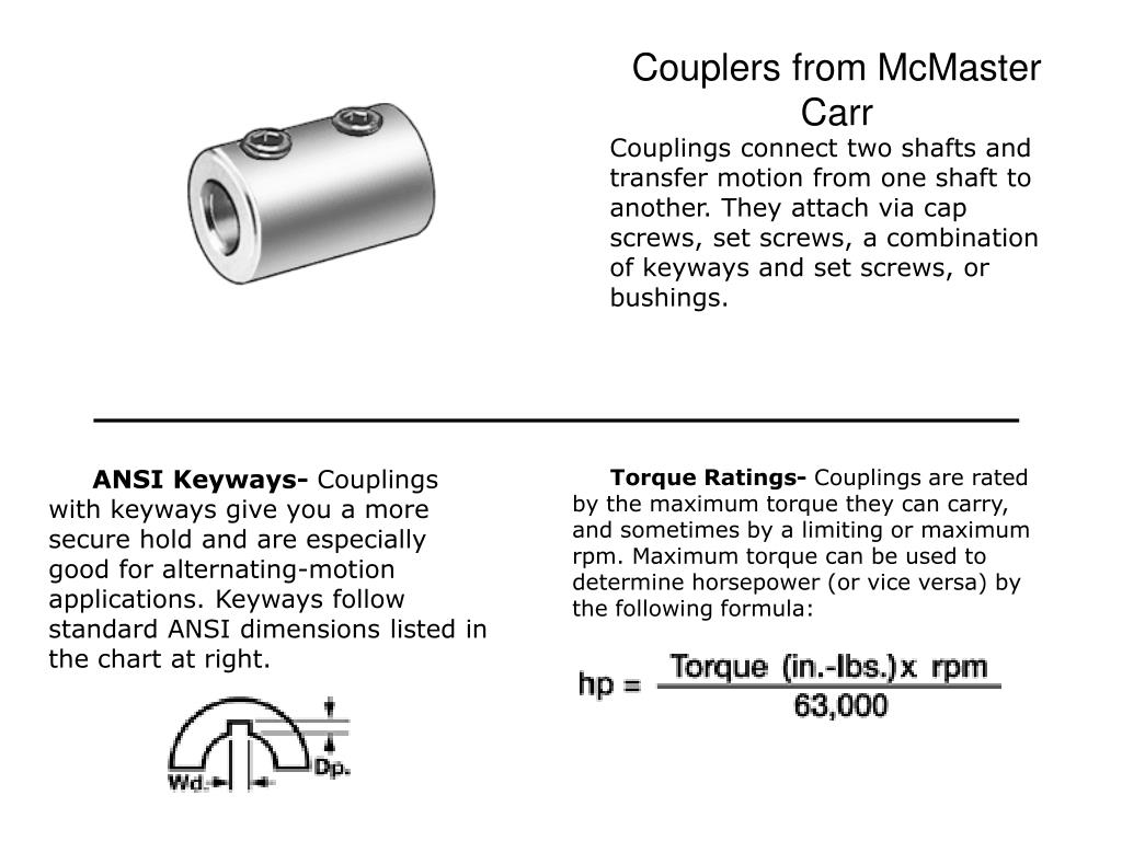 Couplers from McMaster Carr