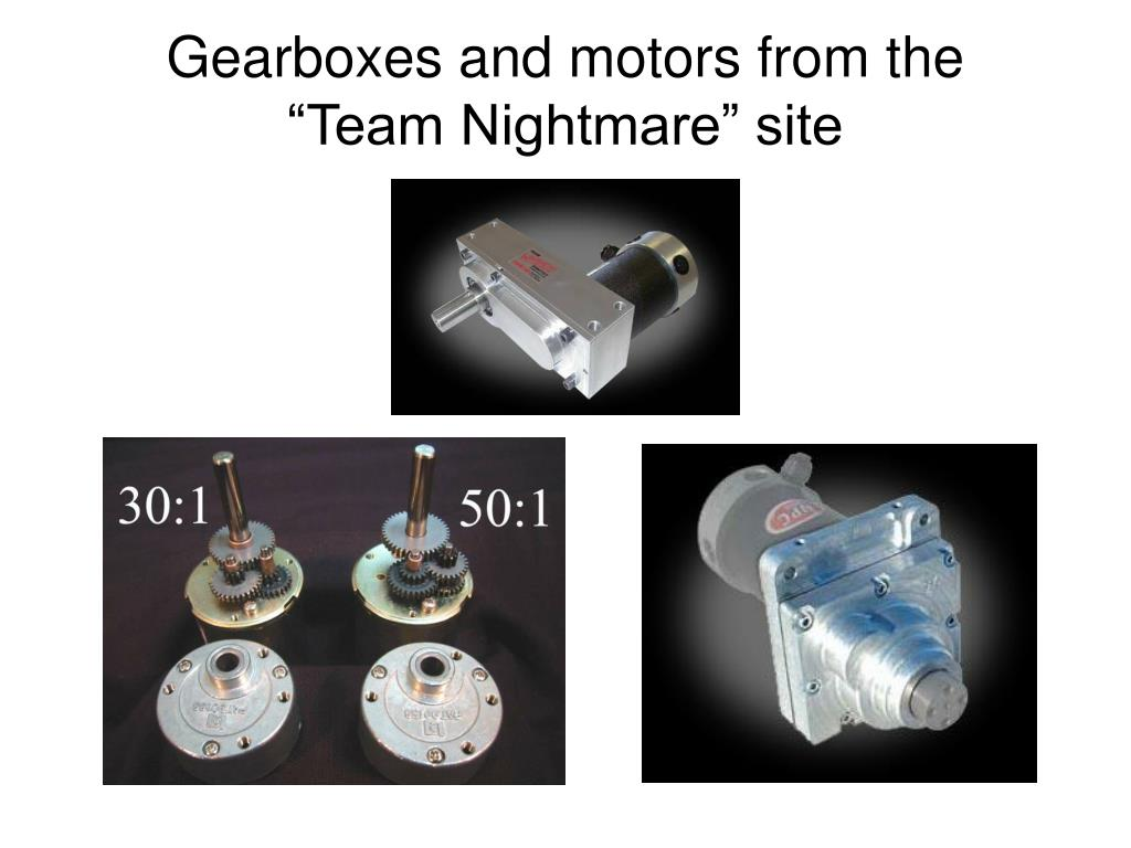 "Gearboxes and motors from the ""Team Nightmare"" site"
