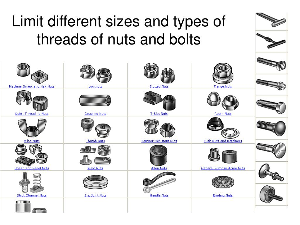 Limit different sizes and types of threads of nuts and bolts