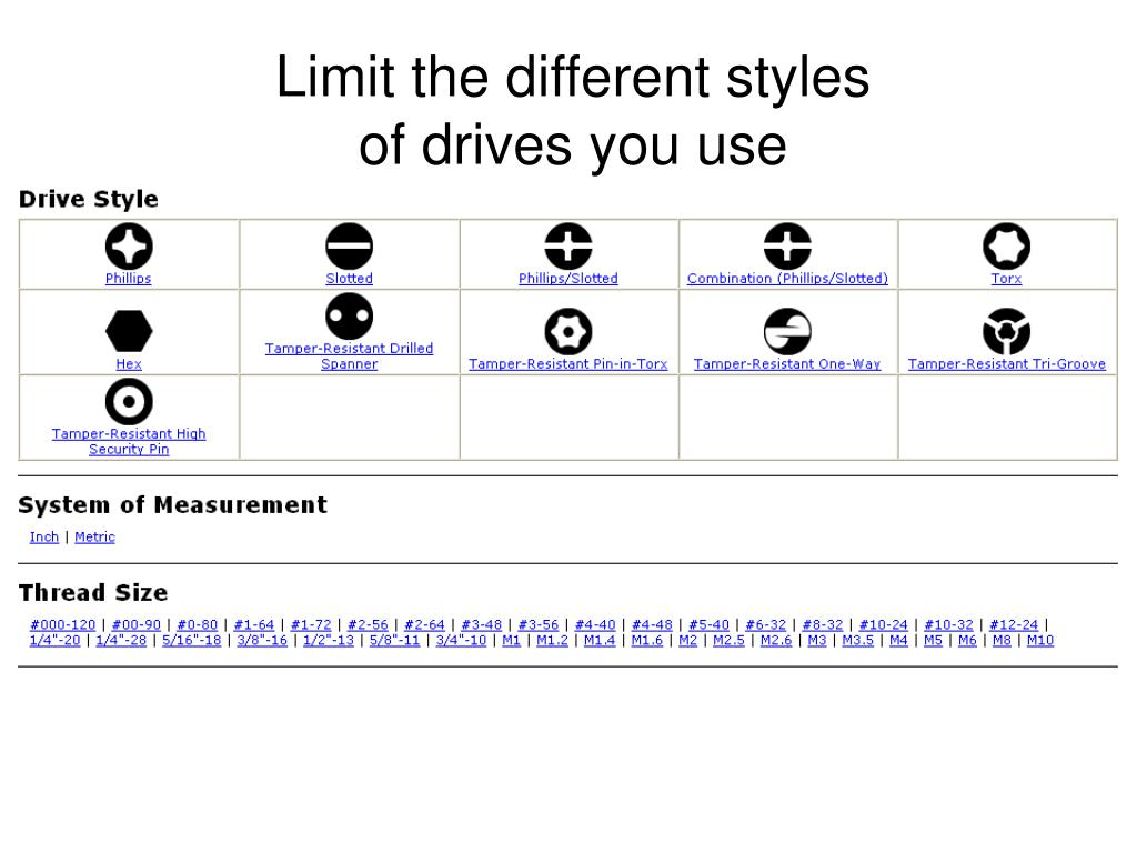 Limit the different styles of drives you use