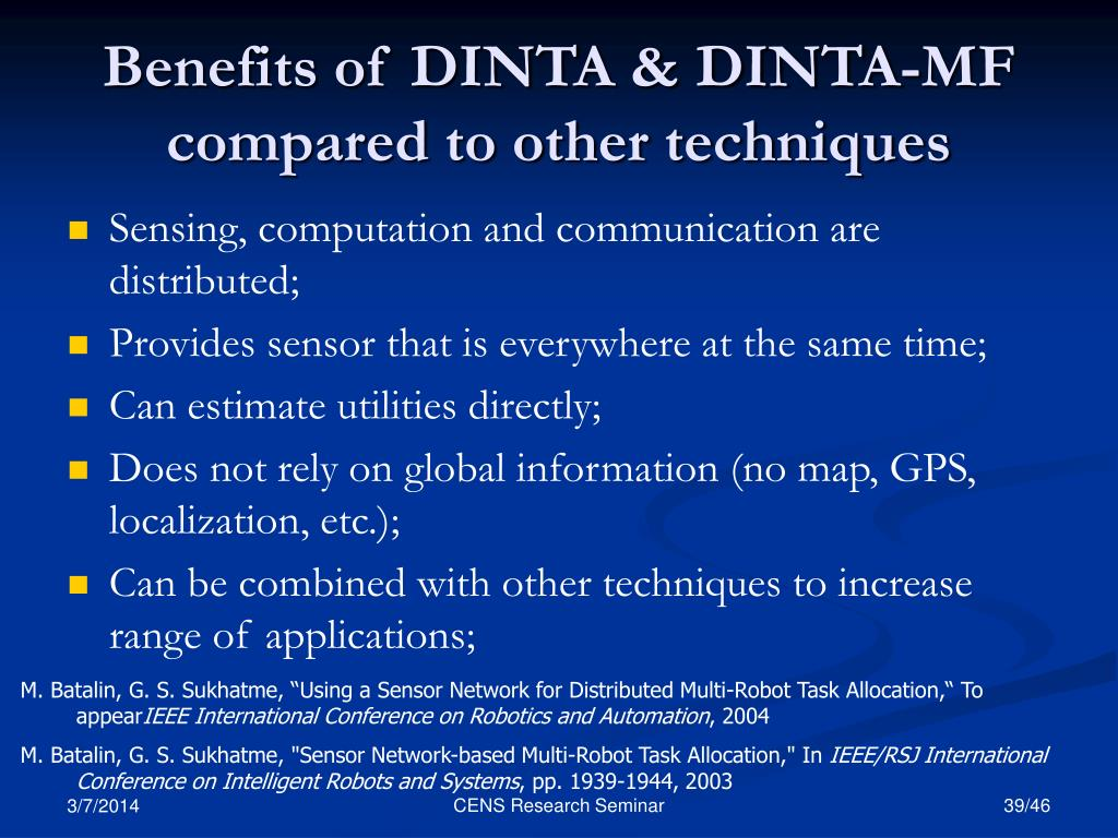 Benefits of DINTA & DINTA-MF compared to other techniques