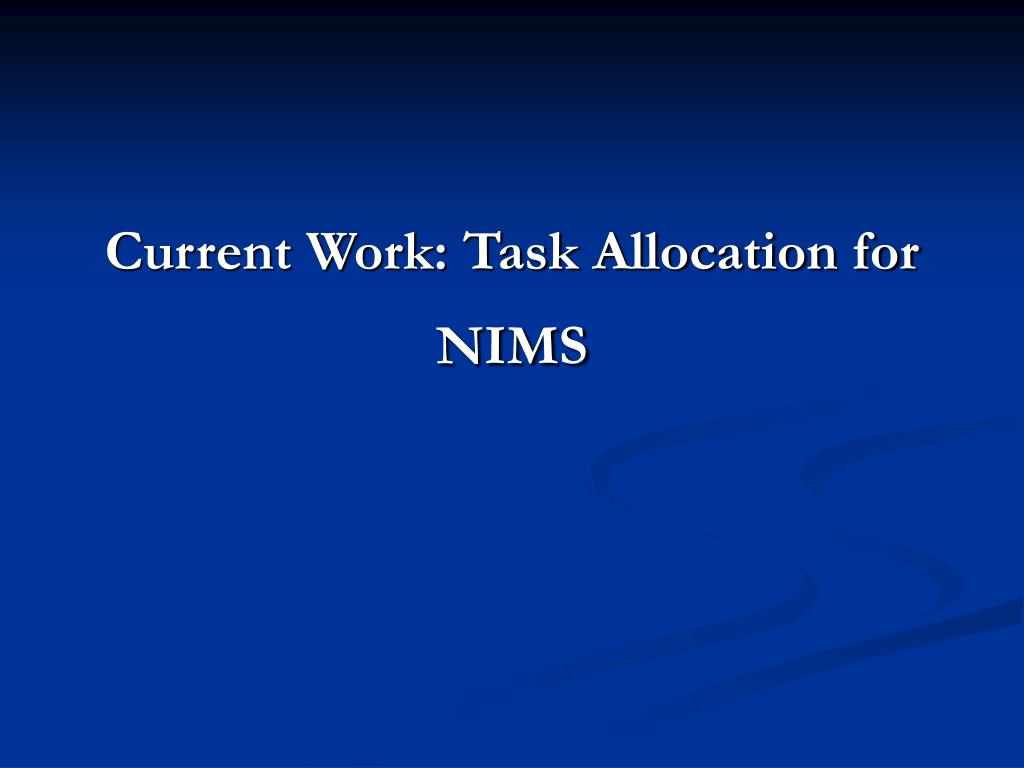 Current Work: Task Allocation for NIMS
