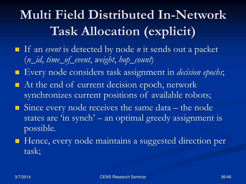 Multi Field Distributed In-Network Task Allocation (explicit)