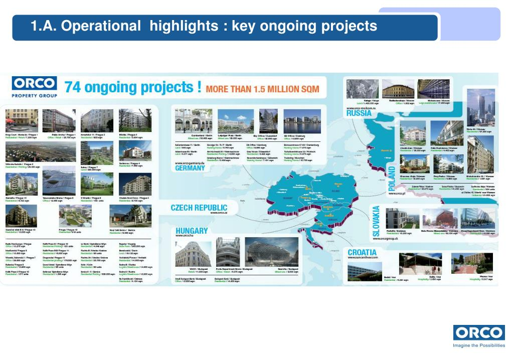 1.A. Operational  highlights : key ongoing projects