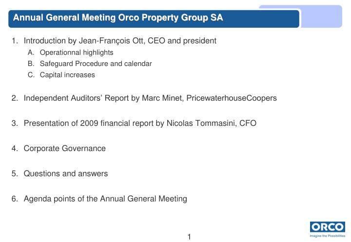 Annual general meeting orco property group sa