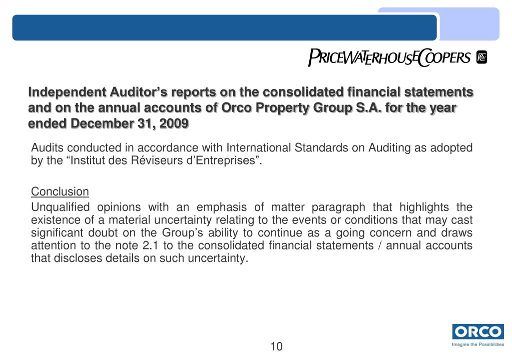 Independent Auditor's reports on