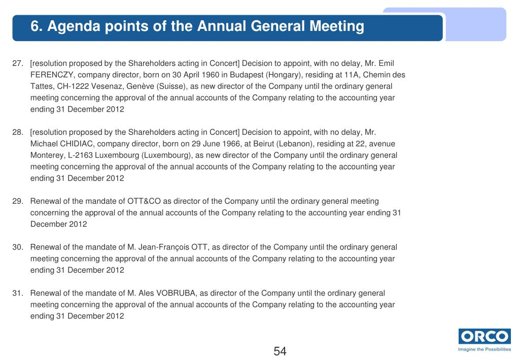6. Agenda points of the Annual General Meeting