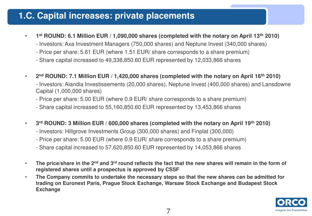 1.C. Capital increases: private placements