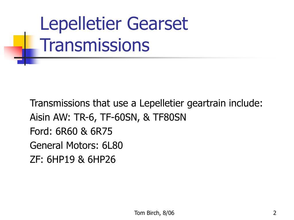 Lepelletier Gearset Transmissions