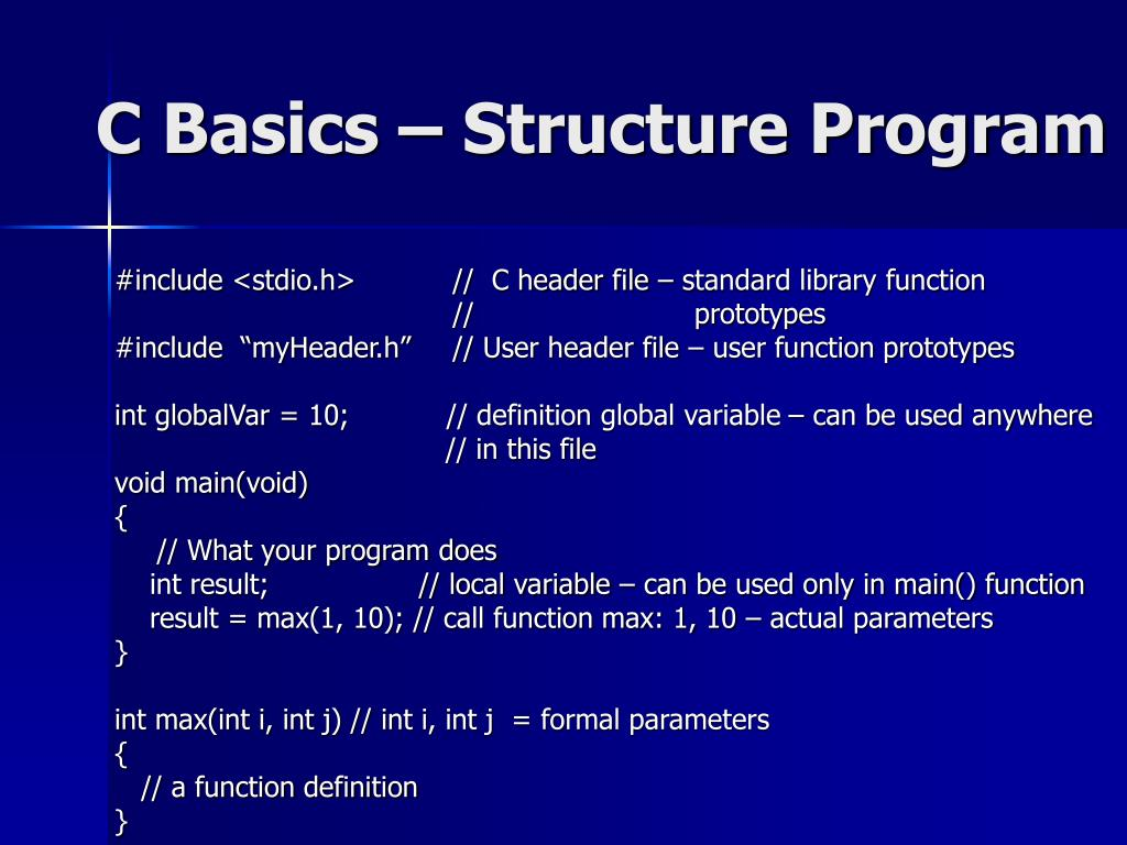 C Basics – Structure Program