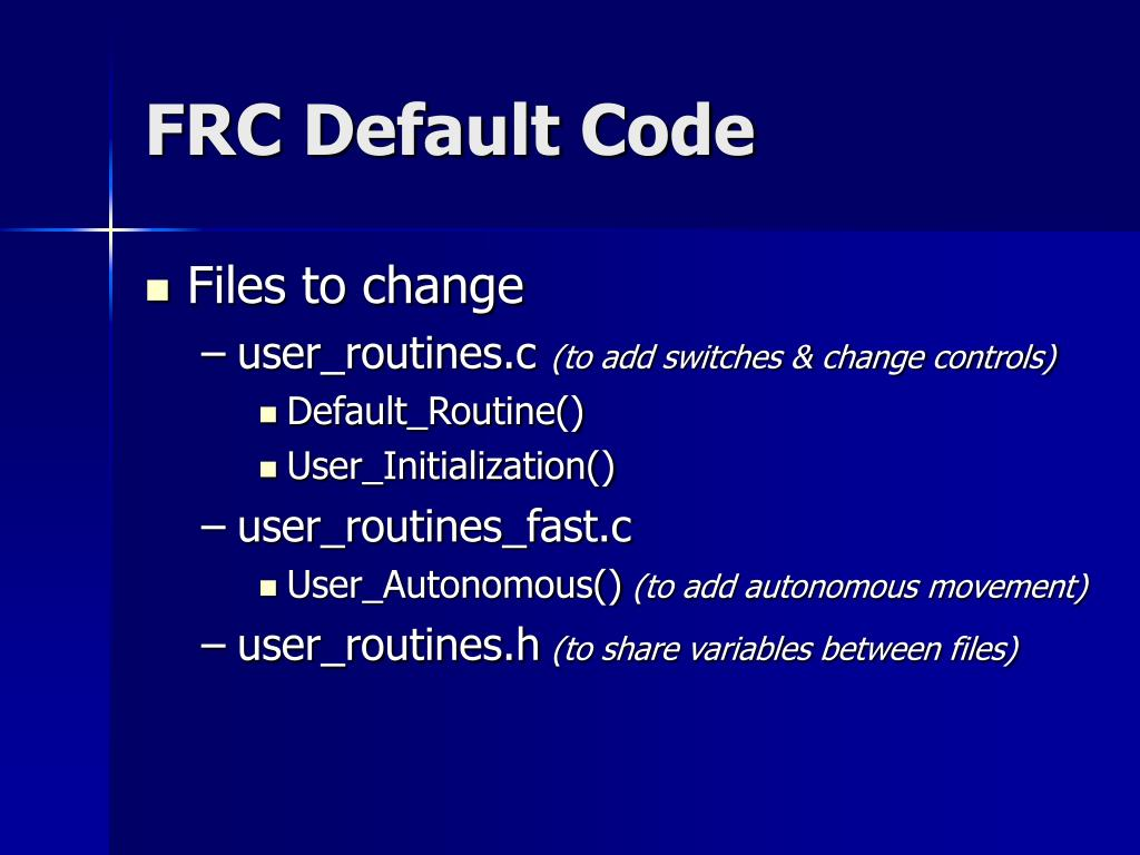FRC Default Code