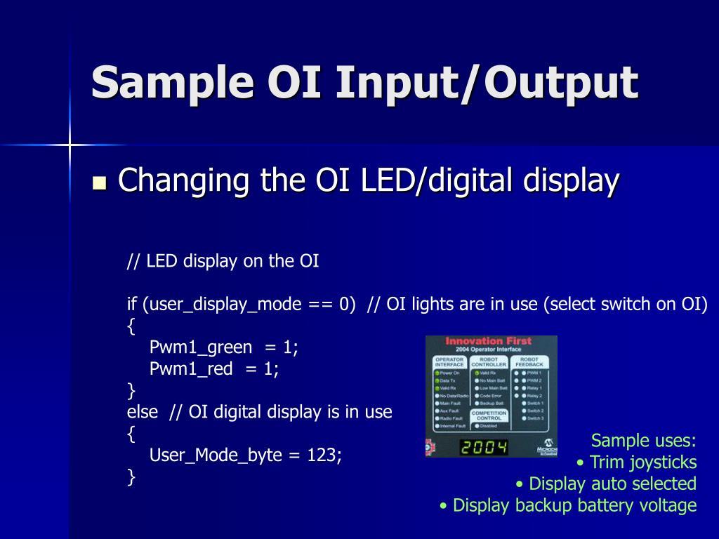 Sample OI Input/Output