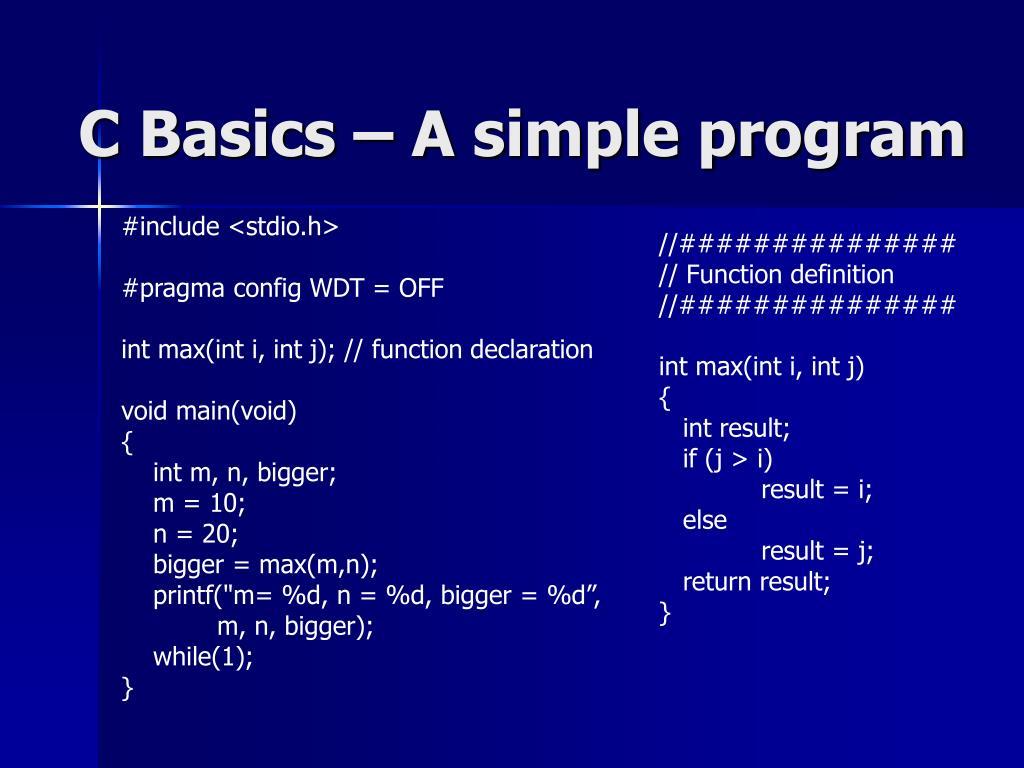 C Basics – A simple program